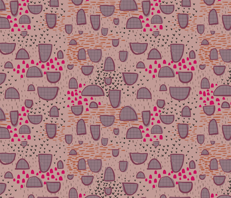 Abstract pink mushrooms fabric by mrshervi on Spoonflower - custom fabric