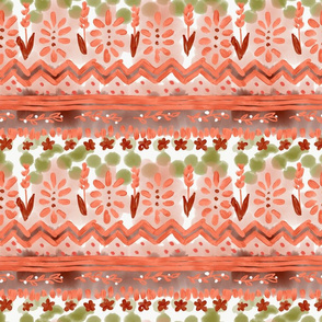Painted mudcloth orange tribal