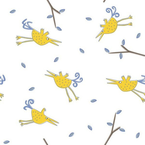 birds in flight white