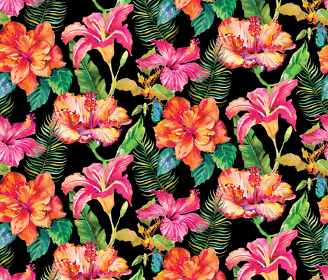 Hibiscus Holiday - Black fabric by samalah on Spoonflower - custom fabric