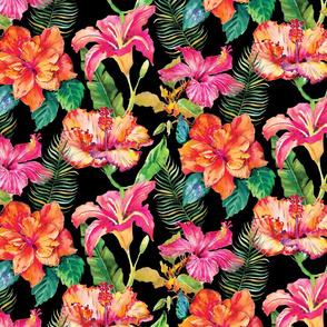 Hibiscus Holiday - Black