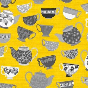 Tea Party w teapots 80x 40_Yellow BGround