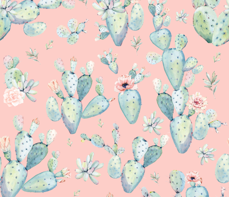 "21"" Love Dreaming Boho Style Succulents fabric by shopcabin on Spoonflower - custom fabric"