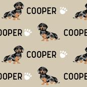 custom name double dapple doxie fabric cute dog design cooper