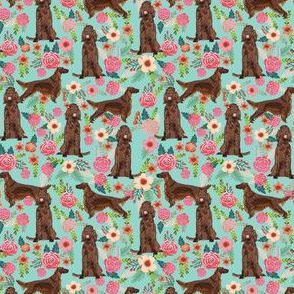 Irish Setter floral (smaller) flowers pet dog fabric teal