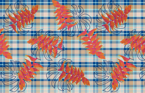 Plaid Heliconia & monstera (cream & blue) fabric by helenpdesigns on Spoonflower - custom fabric