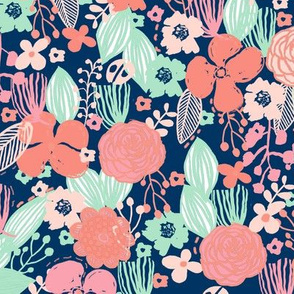 spring floral // botanical florals nature fabric fresh blooms navy pastels