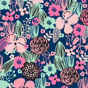 spring floral // botanical florals nature fabric fresh blooms navy