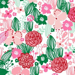 spring floral // botanical florals nature fabric fresh blooms green red