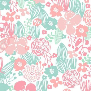 spring floral // botanical florals nature fabric fresh blooms white mint pink
