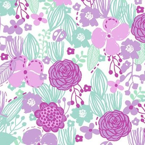 spring floral // botanical florals nature fabric fresh blooms white lavender