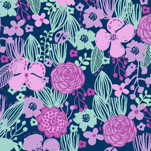 spring floral // botanical florals nature fabric fresh blooms lavender