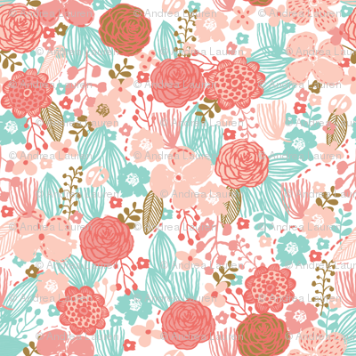 spring floral // botanical florals nature fabric fresh blooms coral