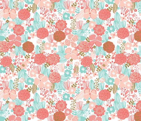 spring floral // botanical florals nature fabric fresh blooms coral fabric by andrea_lauren on Spoonflower - custom fabric