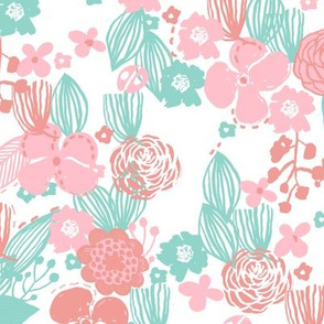 spring floral // botanical florals nature fabric fresh blooms pastels
