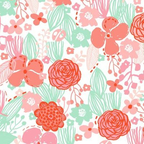 spring floral // botanical florals nature fabric fresh blooms white red pink