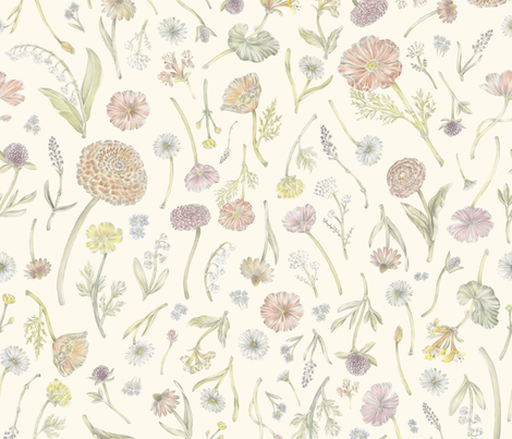 Wildflower Field Cream fabric by ericacatherineillustration on Spoonflower - custom fabric