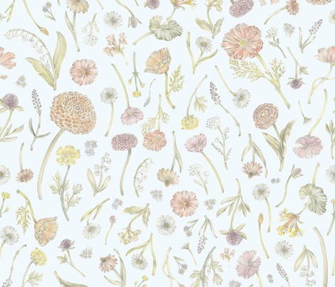 Wildflower Field Blue fabric by ericacatherineillustration on Spoonflower - custom fabric