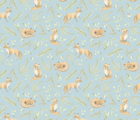 Fox and Mistletoe fabric by ericacatherineillustration on Spoonflower - custom fabric