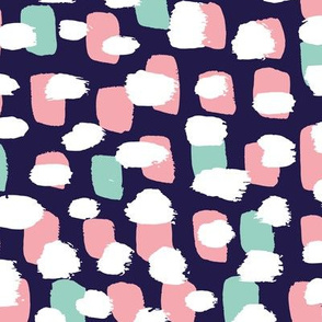 Modern brush spots mix abstract Scandinavian style trend pattern navy pink mint