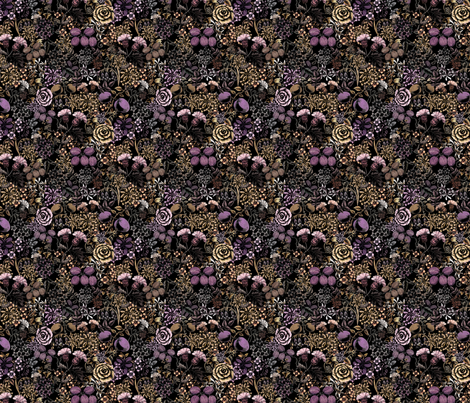 Dark Witches Vintage Flowers and Fruit fabric by darkdarkrezzi on Spoonflower - custom fabric