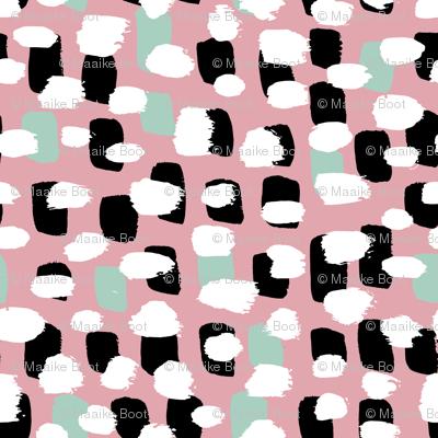 Modern brush spots mix abstract Scandinavian style trend pattern pink mint
