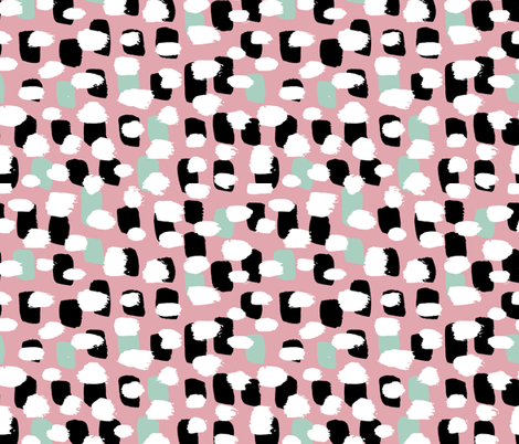 Modern brush spots mix abstract Scandinavian style trend pattern pink mint fabric by littlesmilemakers on Spoonflower - custom fabric