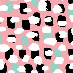 Modern brush spots mix abstract Scandinavian style trend pattern pink mint