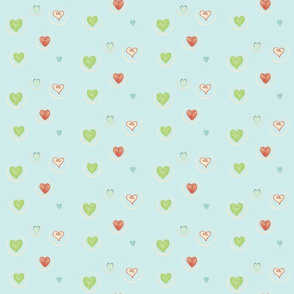 Hearts Afloat-seafoam -blue heart