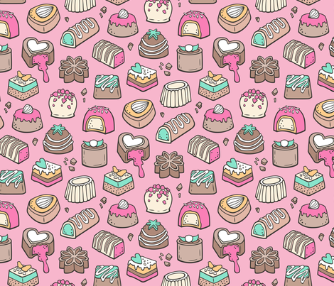 Chocolate Candy Love Sweets Pink on Pink fabric by caja_design on Spoonflower - custom fabric