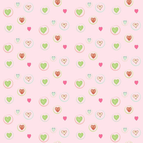 Hearts Afloat- baby pink with hot pink