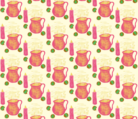 Comfort Food by Candlelight on Magnolia Cream  fabric by rhondadesigns on Spoonflower - custom fabric