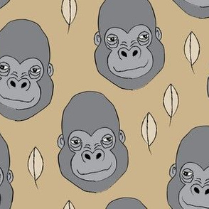 gorilla-and-leaves on khaki