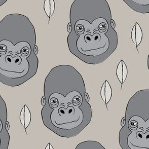 gorilla-and-leaves-on-linen