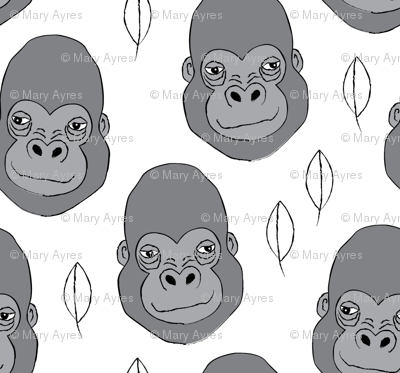 gorilla-and-leaves-on-white