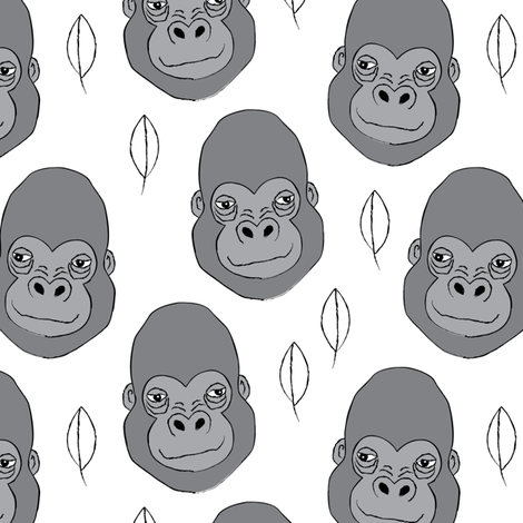 gorilla-and-leaves-on-white fabric by lilcubby on Spoonflower - custom fabric