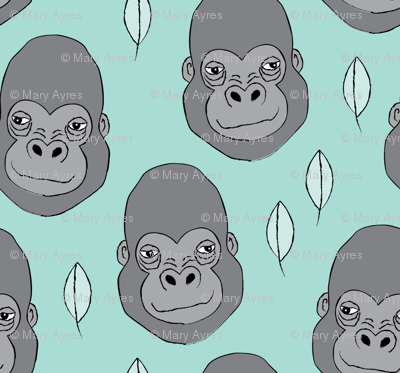 gorillas and leaves on teal