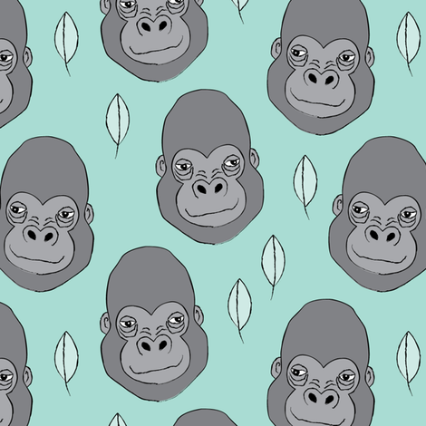 gorillas and leaves on teal fabric by lilcubby on Spoonflower - custom fabric