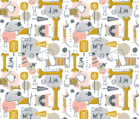 Dog Park - Pink Mustard fabric by heatherdutton on Spoonflower - custom fabric