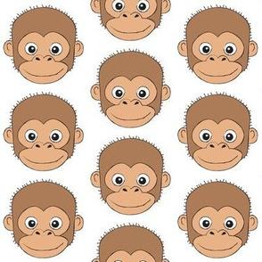 large monkey faces on white