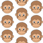 monkey faces on white