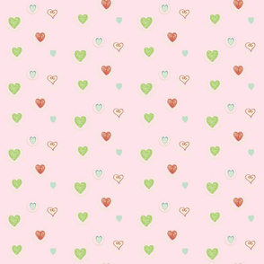 Hearts Afloat- baby pink with seafoam heart