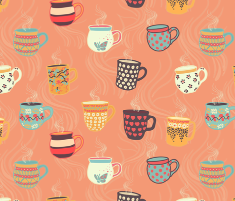 Steaming tea cups on a coral background. Colorful coffee mugs. Hot beverage.  fabric by sandra_hutter_designs on Spoonflower - custom fabric