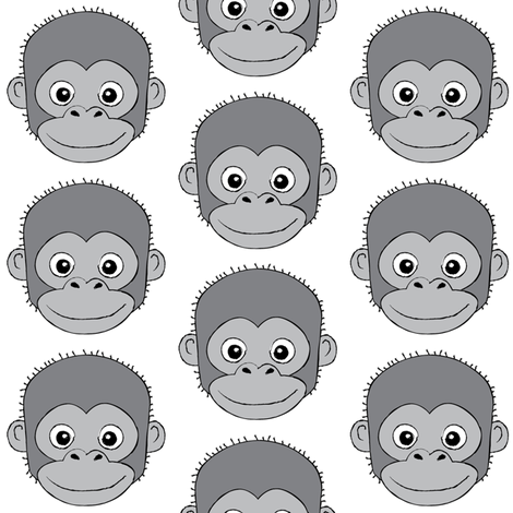 grey monkey faces on white fabric by lilcubby on Spoonflower - custom fabric