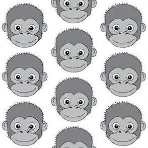 grey monkey faces on white