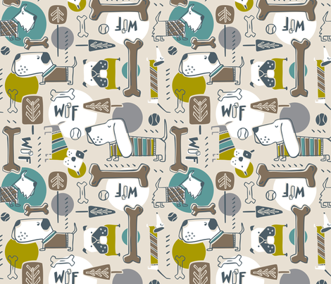 Dog Park - Brown Sage fabric by heatherdutton on Spoonflower - custom fabric