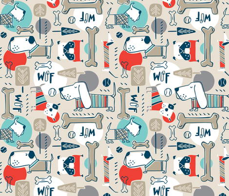 Dog Park - Tan Retro fabric by heatherdutton on Spoonflower - custom fabric