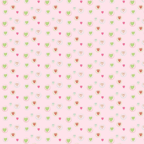 Hearts Afloat SMALL- baby pink with hot pink