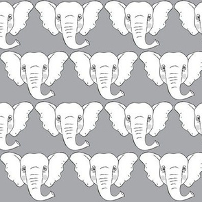 white elephant faces on grey