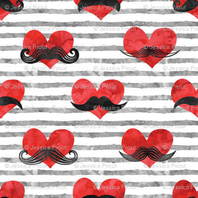 watercolor hearts with  mustaches (red & grey)
